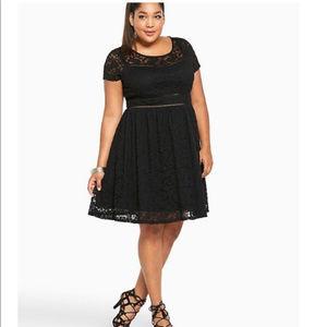 Torrid Black Lace Scoop Skater Dress Size 24